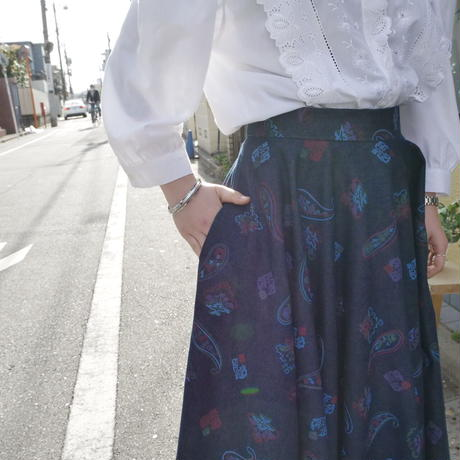 volumey denim long skirt