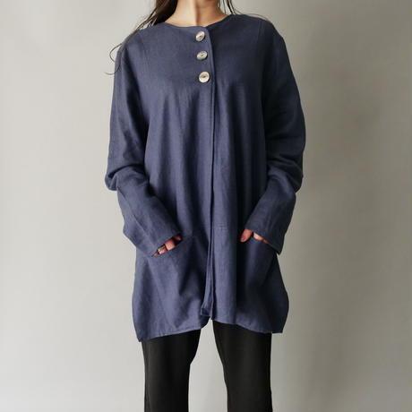 ladies' linen+viscose no collar design loose shirt
