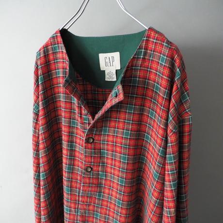80s〜90s old GAP collarless long shirt made in Macau/unisex