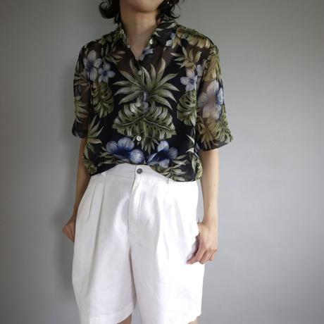 ladies'  botanical pattern sheer shirt