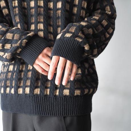 100% cotton block pattern knit sweater/unisex