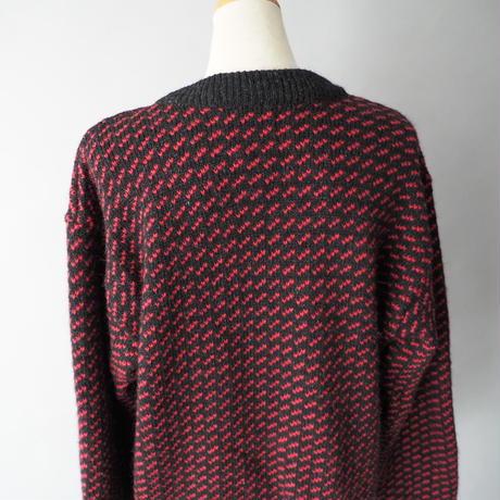 80s-90s L.L. Bean bird's eye knit cardigan/ladies'