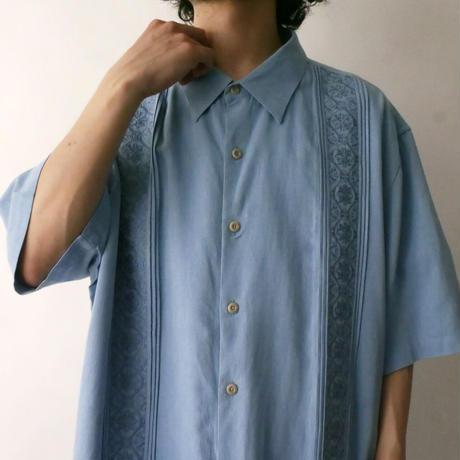 dull blue Cuban shirt/unisex