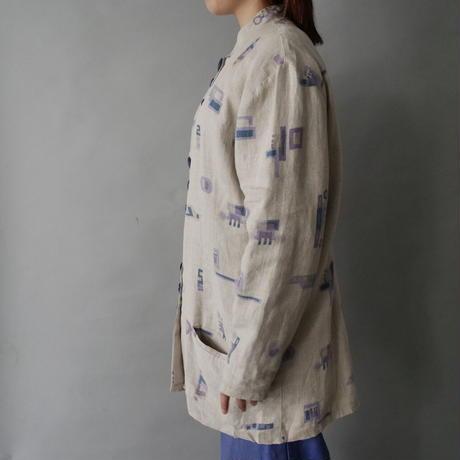 stand collar 100%linen design jacket/unisex