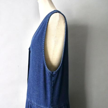 v neck denim jumper skirt