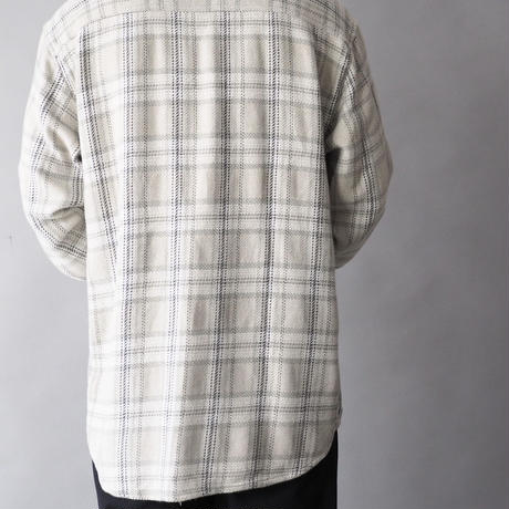 no collar plaid  shirt/unisex