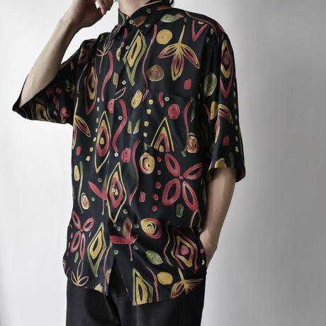 men's abstract  botanical pattern design shirt