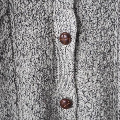 no collar cable knit cardigan/ladies'