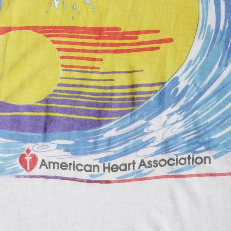 80's swim for heart print T-shirt/for ladies'