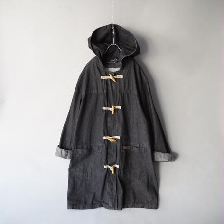 like a duffle coat hoodie denim long coat/unisex