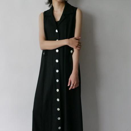 linen+rayon back shan sleeve dress