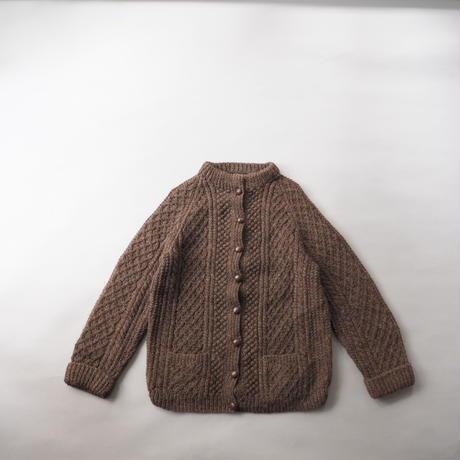 vintage Ireland chocolate color fisherman's knit cardigan/unisex