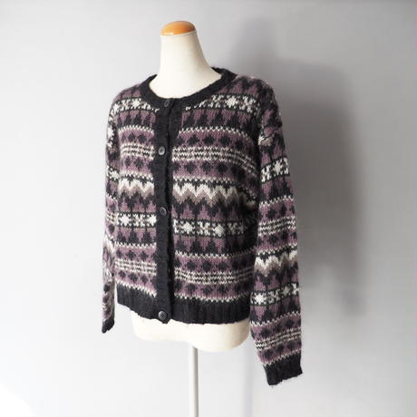 short length mohair knit cardigan/ladies'