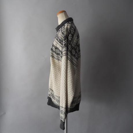 Tyrolean design knit cardigan/unisex