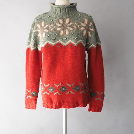 Eddie Bauer bottle&rollneck nordic knit sweater/ladies'
