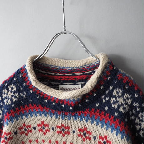 90s Abercrombie & Fitch roll neck nordic loose knit sweater/unisex