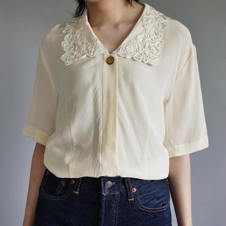 100% silk big collar blouse