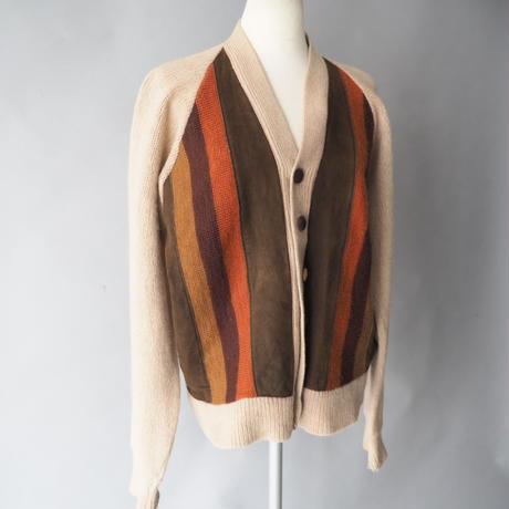 vintage wool+suede knit cardigan/unisex