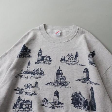 lighthouse print sweat/unisex