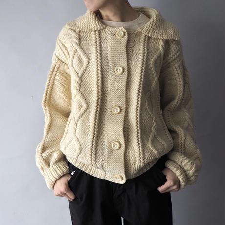 vintage fisherman's big collar hand knit cardigan/for ladies'