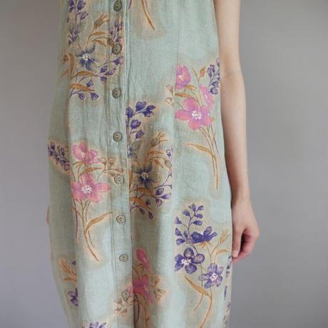 linen+rayon botanical sleeveless dress