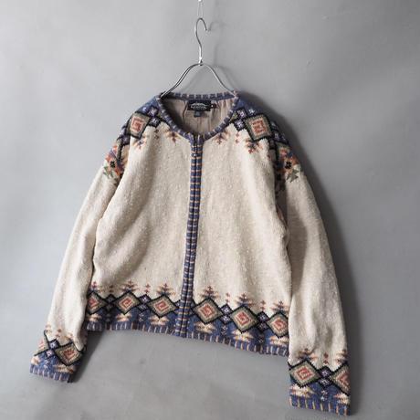 folklore linen+cotton+ rayon zip-up jacket/ladies'