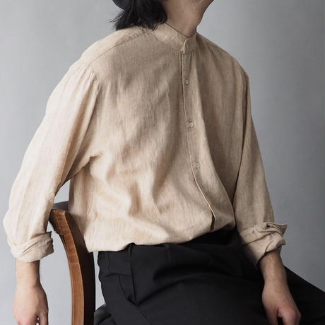 made in Italy line & cotton collarless shirt