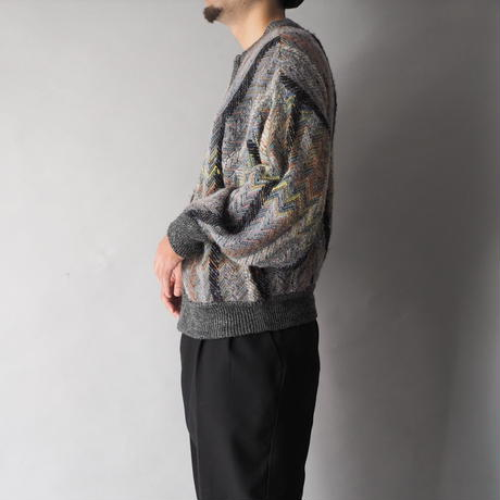 zip-up design knit cardigan/unisex