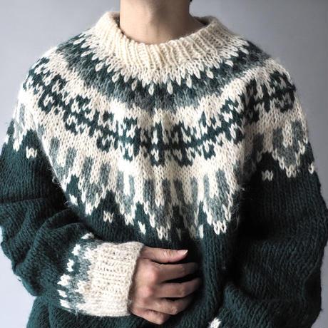 bottle neck nordic loose knit sweater/unisex