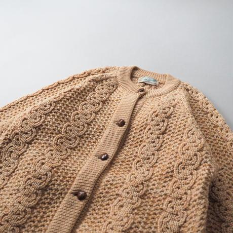 vintage Canadian sherbet orange color fisherman's knit cardigan/ladies'