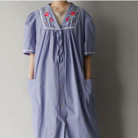 flower embroidery shirt dress