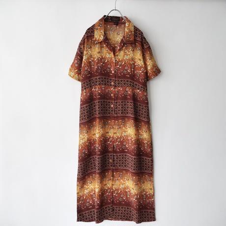 open collar botanical pattern dress