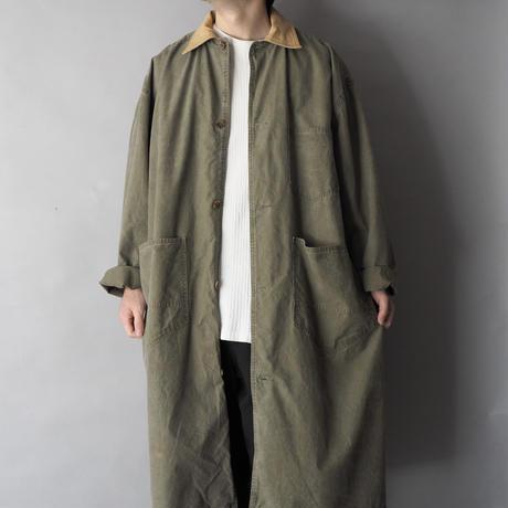 cotton+leather work long coat/unisex