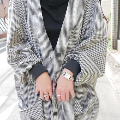 no collar gingham checkerd  light jacket/unisex