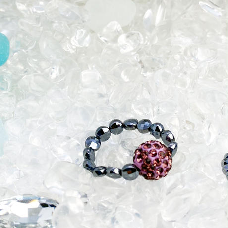 美sha♥オリジナルリング指輪高純度テラヘルツ鉱石とパヴェボールビーズきらきら˖✧ 指輪