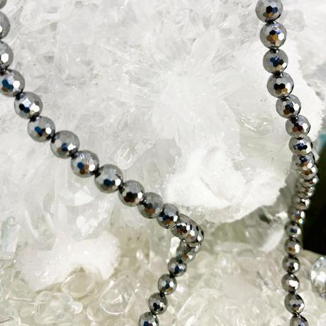 高純度テラヘルツス鉱石°˖✧°ミラーボール°˖✧°カット4㎜玉✴︎ ネックレス ✴︎クロス 十字架 オーバル ✴︎メンズ アクセサリー