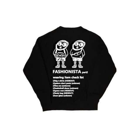 「FASHIONISTA part2」SWEAT C/N WHITE/YELLOW/PINK/ORANGE/BLACK/M/L/XL