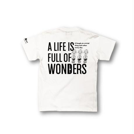 1ポケバックプリント「wonders」white / s / m / l / xl