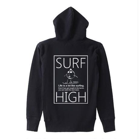 スウェットパーカー「SURF HIGH」black/S/M/L/XL