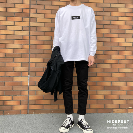 box log rib cut & sew /WHITE/BIEGE/BLACK/M/L/XL