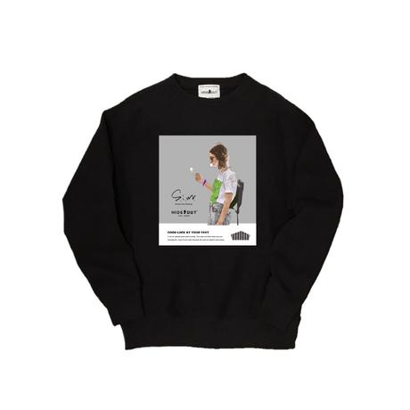S.i.m×HIDEOUT 「SMOKE GIRL」 SWEAT CN  WHITE / BLACK / M / L / XL