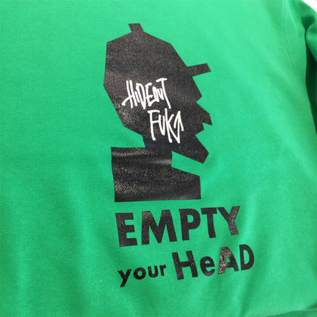 「EMPTY your HeAD」スウェット white/green/charcoal/M/L/XL