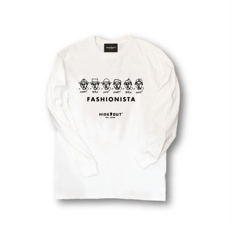 ロンT「fashionista」WHITE/M/L/XL
