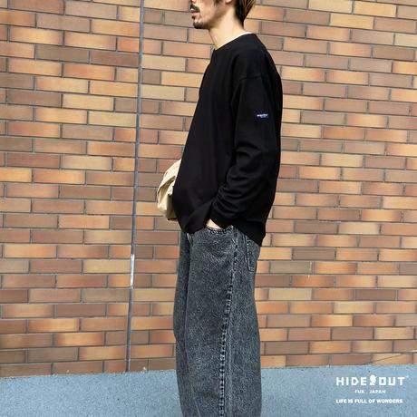 hideout name tag rib cut & sew /WHITE/BIEGE/BLACK/M/L/XL