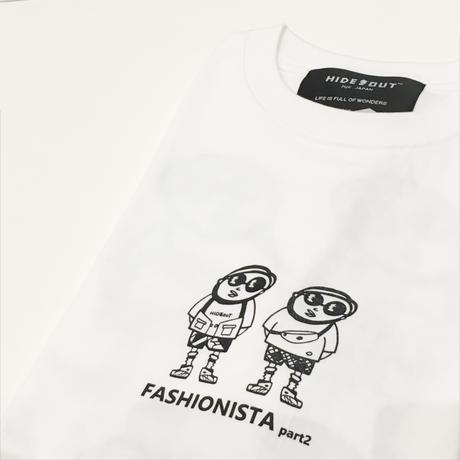 1P × バックプリント「FASHIONISTA-part2」Tシャツ/WHITE/UNISEX/S/M/L/XL