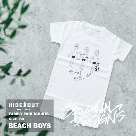 「BEACH BOYS」ロンパース/BABY/WHITE/BLACK/80