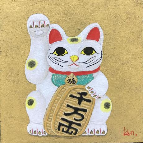 「招き猫」板絵テンペラ画