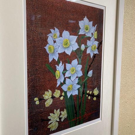 「蝋梅と水仙」オリジナル・ジクレーアート