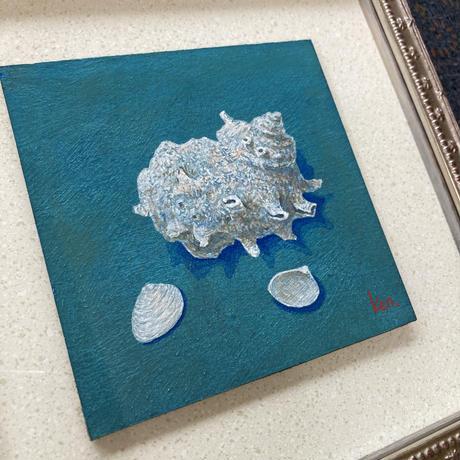 「サザエと貝」板絵テンペラ画