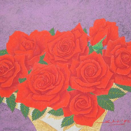 「紅いバラの賛歌」テンペラ画